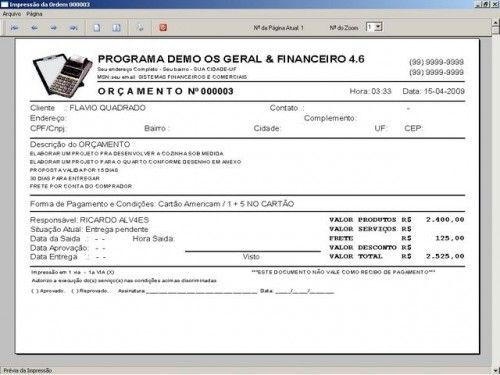 Programa Ordem de Serviços Gerais, Vendas, Estoque e Financeiro v4.6  FpqSystem 2634