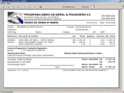 Programa Ordem de Serviços Gerais, Vendas, Estoque e Financeiro v4.6  FpqSystem 2643