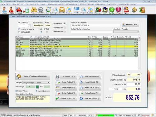 Programa para Oficina Mecânica para Veiculos em Geral, Vendas e Financeiro v4.0 FpqSystem 97789