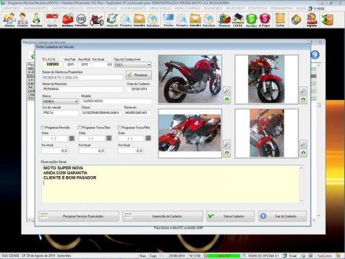 Programa para Oficina Mecânica MOTO com Check List + Vendas e Financeiro v5.1 PLUS 92509