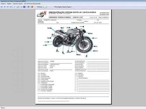Programa para Oficina Mecânica MOTO com Check List + Vendas e Financeiro v5.1 PLUS 92514
