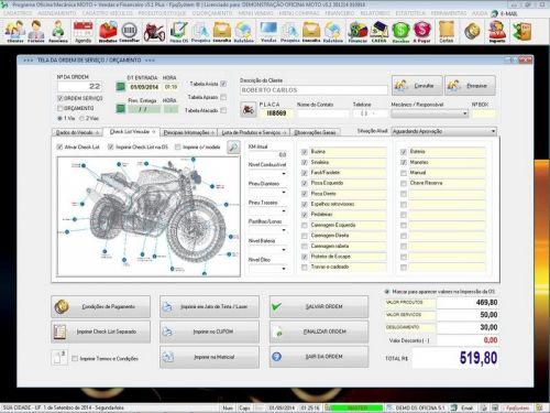 Programa para Oficina Mecânica MOTO com Check List + Vendas e Financeiro v5.1 PLUS 92515