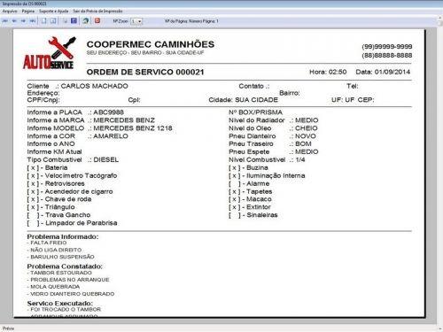 Programa para Oficina Mecânica CAMINHÃO com Check List + Vendas e Financeiro v5.2 PLUS 92534