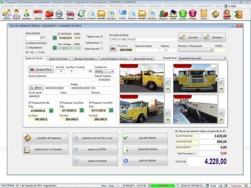 Programa para Oficina Mecânica CAMINHÃO com Check List + Vendas e Financeiro v5.2 PLUS 92537