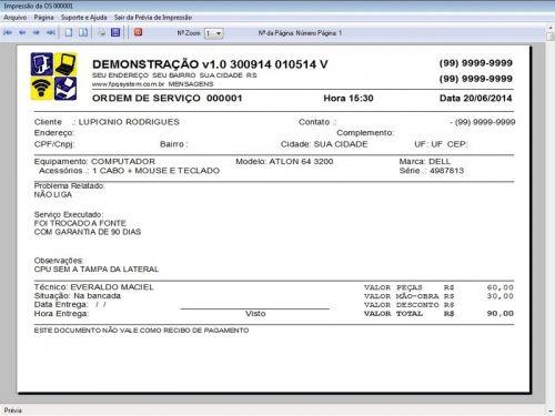 Programa Assistência Técnica, Ordem de Serviço e Orçamento v1.0 FpqSystem 96358