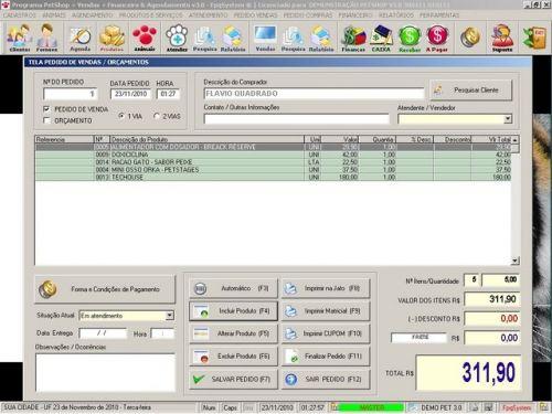 Programa para PetShop e Veterinária com Vendas, Serviços e Financeiro v3.0 - FpqSystem 97661