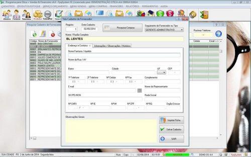 Programa para Ótica e Relojoalheria Vendas + Financeiro v4.4 - FpqSystem 151963