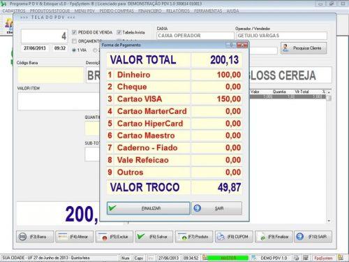Programa PDV Frente de Caixa, Estoque e Financeiro v1.0 - FpqSystem 152540