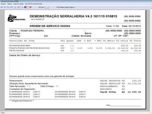 Programa Ordem de Serviço Serralheria com Vendas e Financeiro v4.3 187872