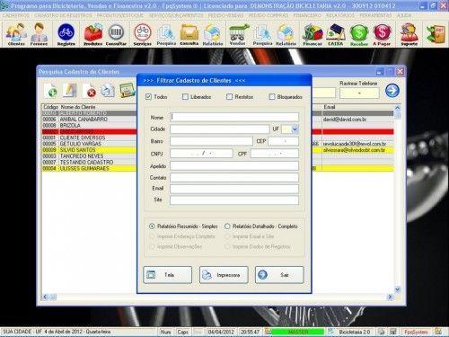Programa para Bicicletaria com Ordem de Serviço Vendas e Financeiro v2.0  FpqSystem 6676