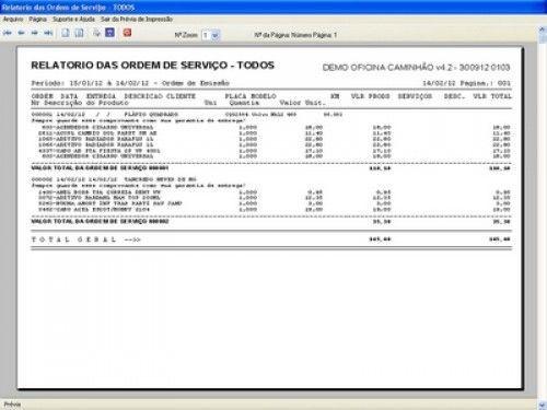 Programa OS Oficina Mecânica Caminhão com Serviços Orçamentos Vendas e Financeiro v4.2 6735