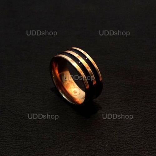 Anel Aliança de Compromisso Dourado com 2 Listras Pretas - Material Aço + Frete Grátis 339543