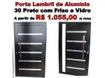 Porta Lambril Nova de Alumínio 30 Preto com Friso  Vidro e Puxador Marca Cmc a partir de R$ 1055