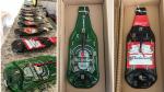 Relógios decorativos feitos em garrafas derretidas .
