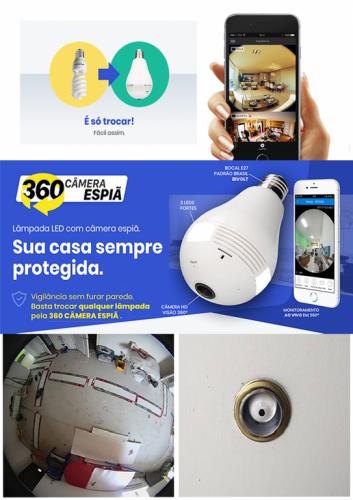 360 Câmera Espiã – Lâmpada Led com câmera espiã 492396