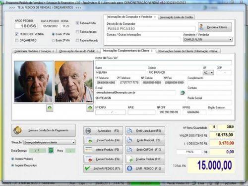 Programa Controle de Estoque, Pedido de Vendas e Financeiro v3.0 PLUS 15929