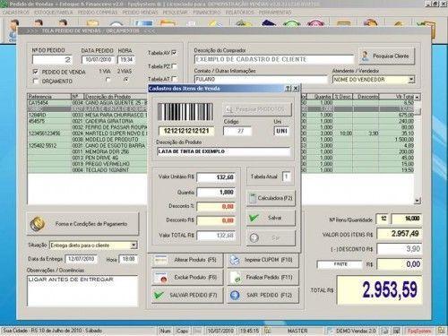 Programa para Controlar Vendas, Controlar Estoque e Financeiro v2.0 2540