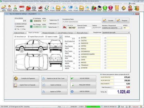 Programa para Oficina Mecânica com Check List + Vendas e Financeiro v5.0 92497
