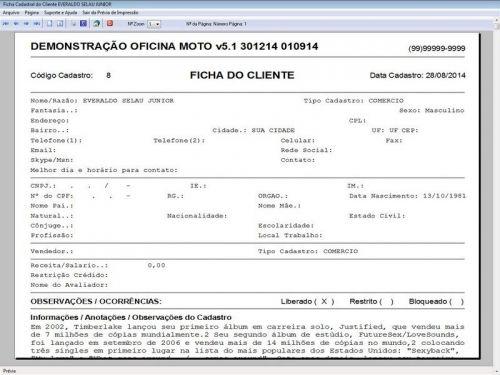 Programa para Oficina Mecânica MOTO com Check List + Vendas e Financeiro v5.1 PLUS 92512