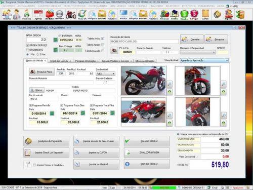 Programa para Oficina Mecânica MOTO com Check List + Vendas e Financeiro v5.1 PLUS 92516