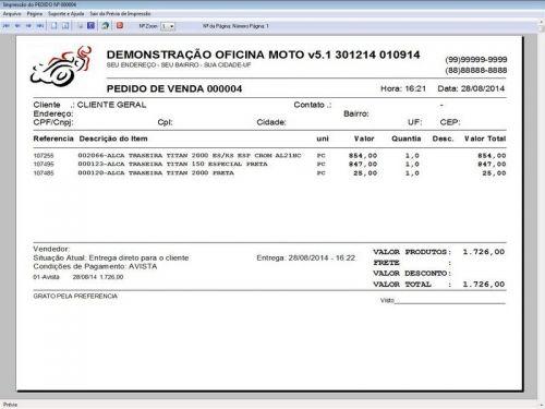 Programa para Oficina Mecânica MOTO com Check List + Vendas e Financeiro v5.1 PLUS 92518