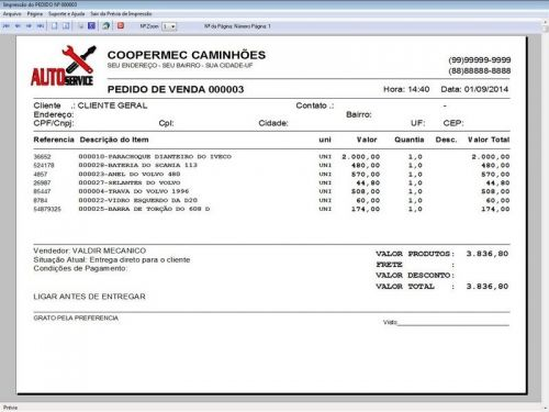 Programa para Oficina Mecânica CAMINHÃO com Check List + Vendas e Financeiro v5.2 PLUS 92535