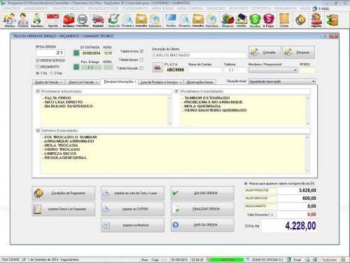 Programa para Oficina Mecânica CAMINHÃO com Check List + Vendas e Financeiro v5.2 PLUS 92538