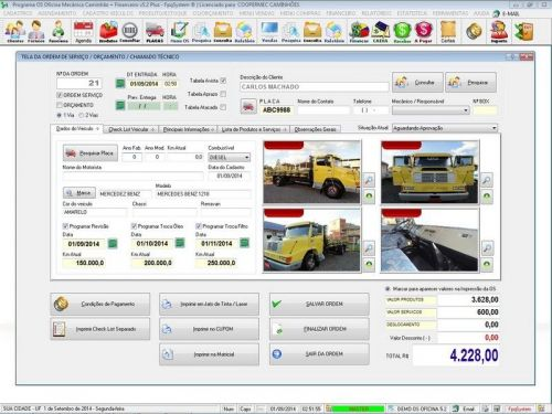 Programa para Oficina Mecânica CAMINHÃO com Check List + Vendas e Financeiro v5.2 PLUS 92541
