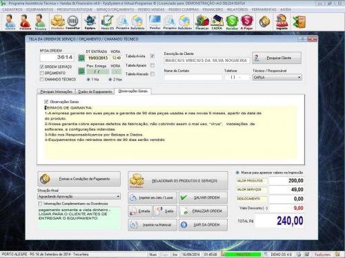 Programa Assistência Técnica, Ordem de Serviço, Orçamento e Financeiro v4.0 - Fpqsystem 96577