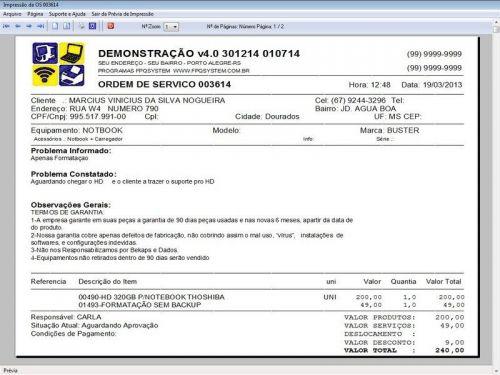 Programa Assistência Técnica, Ordem de Serviço, Orçamento e Financeiro v4.0 - Fpqsystem 96580