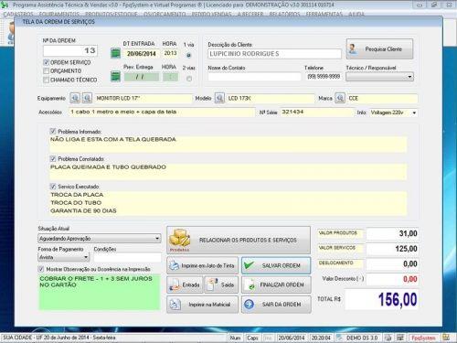 Programa para Assistência Técnica, Ordem de Serviço, Orçamento e Vendas v3.0 - Fpqsystem 96623