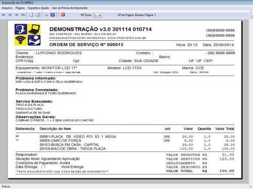 Programa para Assistência Técnica, Ordem de Serviço, Orçamento e Vendas v3.0 - Fpqsystem 96624