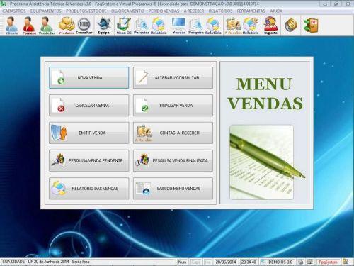 Programa para Assistência Técnica, Ordem de Serviço, Orçamento e Vendas v3.0 - Fpqsystem 96632