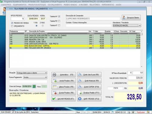 Programa para Assistência Técnica, Ordem de Serviço, Orçamento e Vendas v3.0 - Fpqsystem 96637