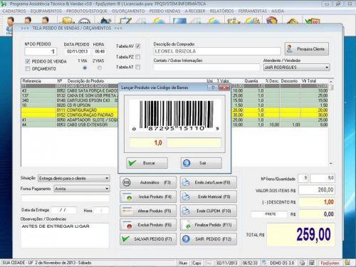 Programa para Assistência Técnica, Ordem de Serviço, Orçamento e Vendas v3.0 - Fpqsystem 96638
