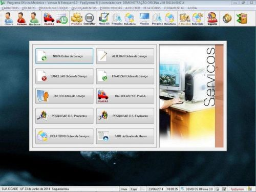 Programa para Oficina Mecânica com OS, Orçamento e Cadastro de Placas v3.0 - Fpqsystem 97554