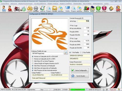 Programa para Oficina Mecânica Moto, OS, Orçamento e Cadastro de Placas v4.1 - Fpqsystem 97572