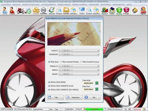Programa para Oficina Mecânica Moto, OS, Orçamento e Cadastro de Placas v4.1 - Fpqsystem 97575