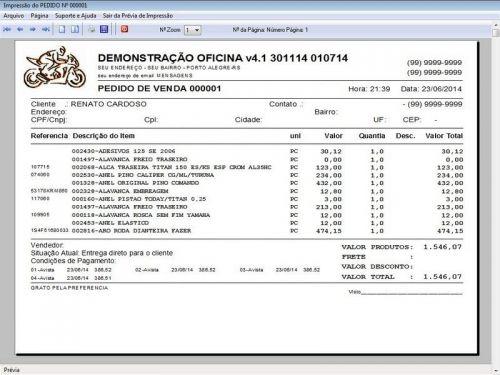 Programa para Oficina Mecânica Moto, OS, Orçamento e Cadastro de Placas v4.1 - Fpqsystem 97580