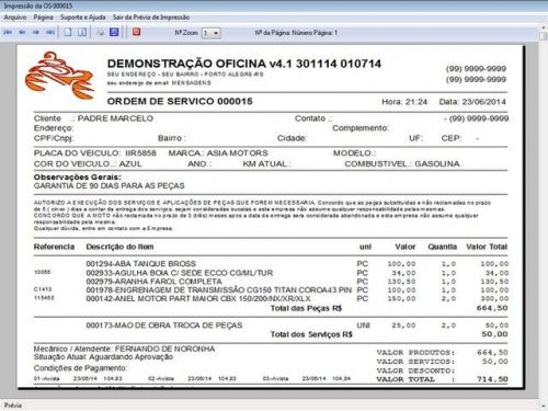Programa para Oficina Mecânica Moto, OS, Orçamento e Cadastro de Placas v4.1 - Fpqsystem 97581