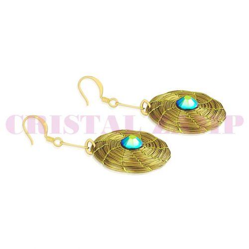 Brinco em capim dourado decorado com cristais Swarovski® 129498