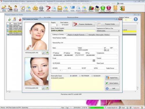 Programa Salão de Beleza, Agendamento, Vendas e Financeiro v4.0 Plus 151108