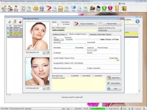 Programa Salão de Beleza, Agendamento, Vendas e Financeiro v4.0 Plus 151109