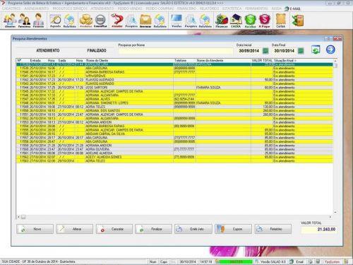 Programa Salão de Beleza, Agendamento, Vendas e Financeiro v4.0 Plus 151122