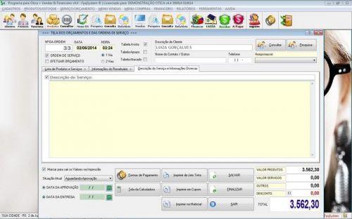 Programa para Ótica e Relojoalheria Vendas + Financeiro v4.4 - FpqSystem 151978