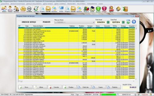 Programa para Ótica e Relojoalheria Vendas + Financeiro v4.4 - FpqSystem 151980