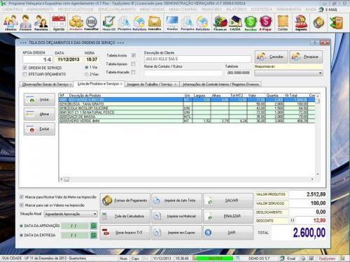 Programa OS Vidraçaria e Esquadria com Vendas, Financeiro e Agendamento v5.7 Plus 152228