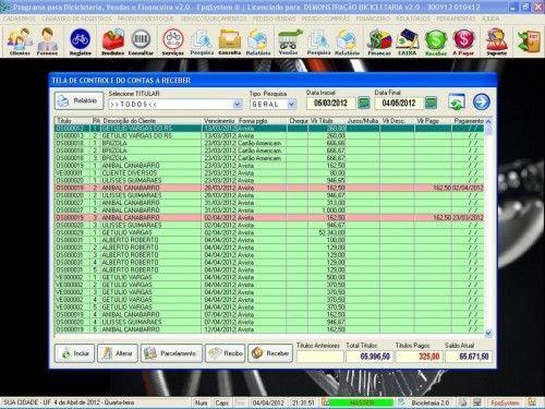 Programa para Bicicletaria com Ordem de Serviço Vendas e Financeiro v2.0  FpqSystem 6666