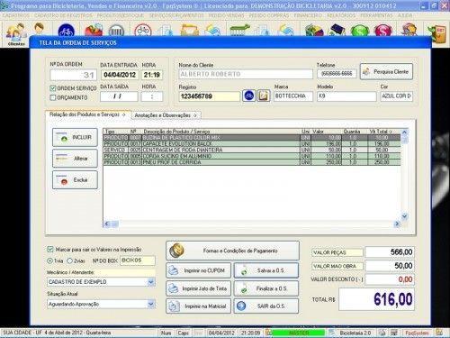 Programa para Bicicletaria com Ordem de Serviço Vendas e Financeiro v2.0  FpqSystem 6671
