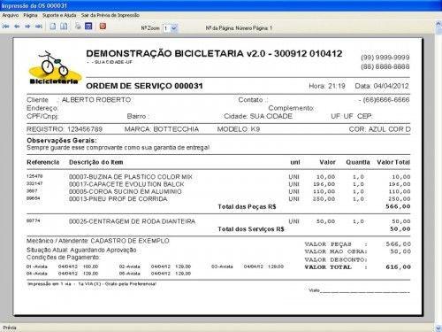 Programa para Bicicletaria com Ordem de Serviço Vendas e Financeiro v2.0  FpqSystem 6673